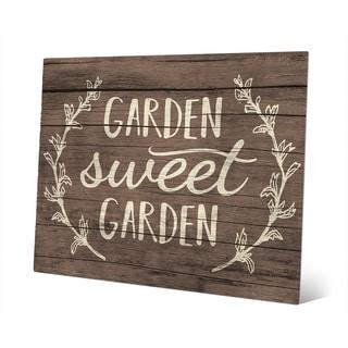 'Garden Sweet Garden' Rustic Wood Wall Art on Metal