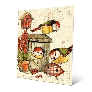 'Garden Birdhouse Orange' Aluminum Wall Art Print