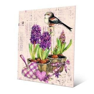 'Bird and Garden Flowers Violet' Wall Art on Metal