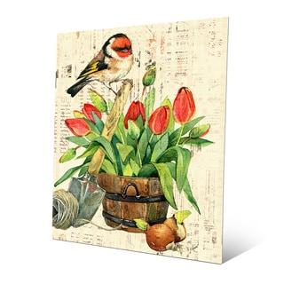 'Garden Bird and Red Tulips' Metal Wall Art