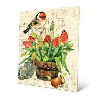 'Garden Bird and Red Tulips' Metal Wall Art