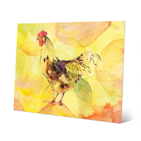Shop Inked Rooster On Lemon Aluminum Wall Art Print