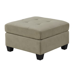 Ultra-Soft Taupe Microfiber Ottoman