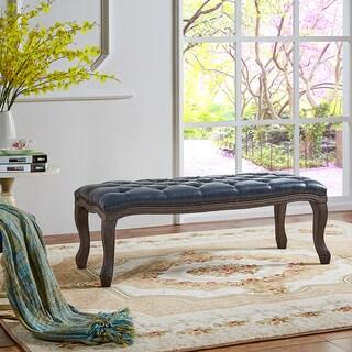 Casini Gray Bi-Cast Leather Tufted Bench