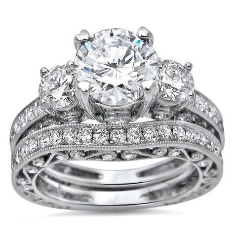 Noori 18k White Gold Moissanite and 1 1/2ct TDW Diamond Bridal Set (G-H, SI1-SI2)