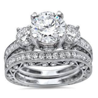 Noori 18k White Gold Moissanite and 1 1/2ct TDW Diamond Bridal Set (G-H, SI1-SI2)|https://ak1.ostkcdn.com/images/products/14173628/P20772672.jpg?impolicy=medium