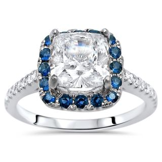 Noori 14k White Gold 1ct TGW Moissanite, Blue Sapphire, and 1/6ct TDW Diamond Engagement Ring (G-H, SI1-SI2)