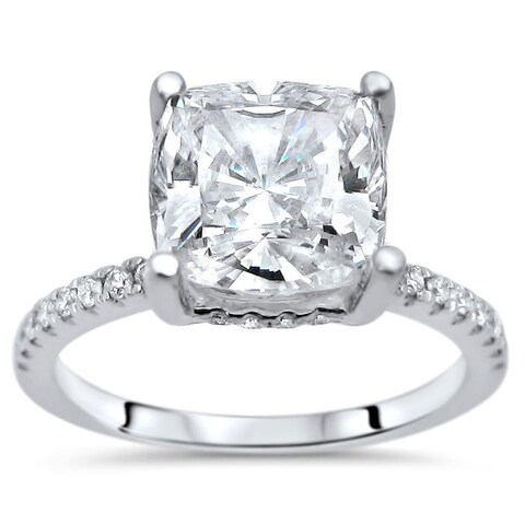 Noori 14k White Gold Moissanite and 1/4ct TDW White Diamond Engagement Ring (G-H, SI1-SI2)