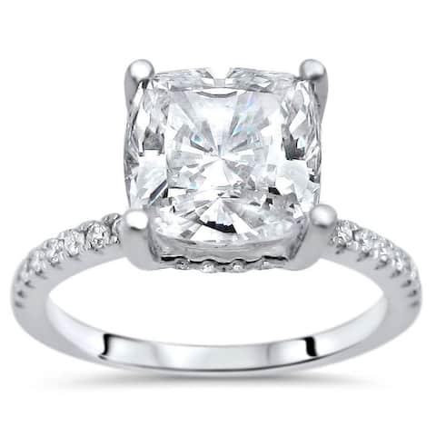 14k White Gold Moissanite and 1/4ct TDW White Diamond Engagement Ring (G-H, SI1-SI2)