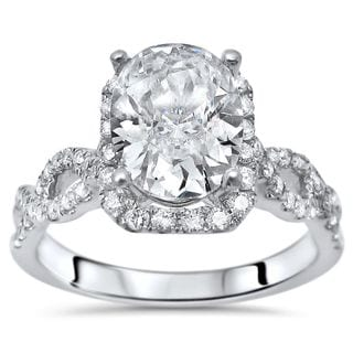 Noori 18k White Gold 2 2/5ct TGW Oval Cut Moissanite Diamond Engagement Ring (G-H, SI1-SI2)
