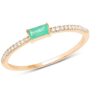 Malaika 14k Yellow Gold 1/5ct TGW Zambian Emerald and White Diamond Accent Ring