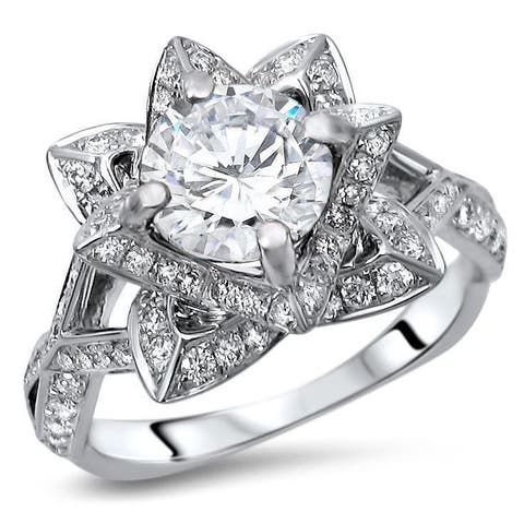 14k White Gold 2ct TGW Round Moissanite Lotus Flower and 5/8ct TDW Diamond Engagement Ring (G-H, SI1-SI2)
