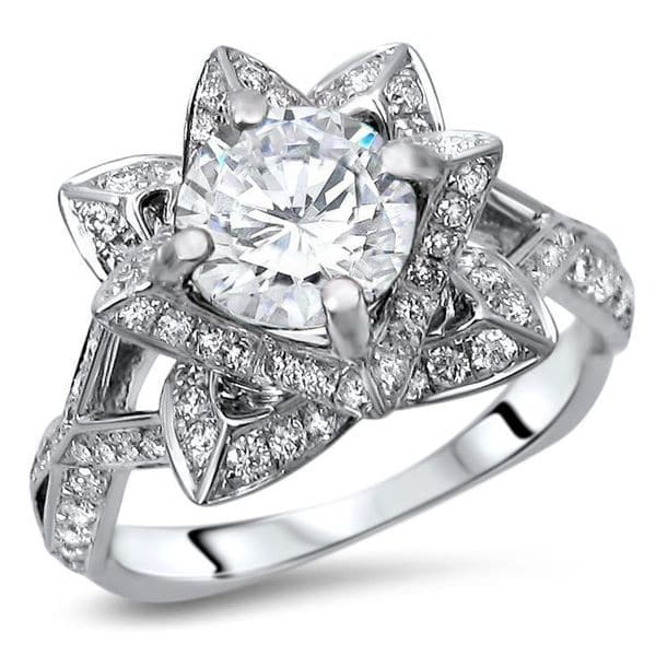 14k White Gold 2ct TGW Round Moissanite Lotus Flower and 5/8ct TDW Diamond Engagement Ring (G-H, SI1-SI2)