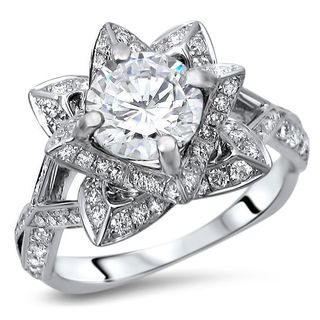 Noori 14k White Gold 2ct TGW Round Moissanite Lotus Flower and 5/8ct TDW Diamond Engagement Ring (G-H, SI1-SI2)