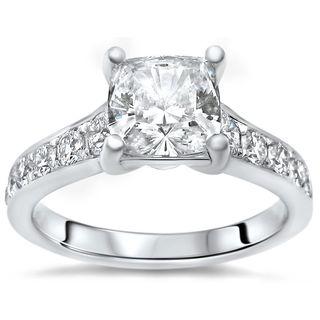 Noori 14k White Gold 1ct TGW Cushion-cut Moissanite and 1/2ct TDW Diamond Engagement Ring (G-H, SI2-I1)