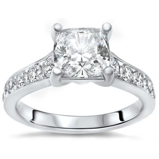 Noori 14k White Gold 1ct TGW Cushion-cut Moissanite and 1/2ct TDW Diamond Engagement Ring (G-H, SI2-I1) (More options available)