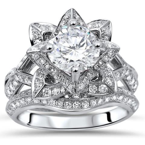 14k White Gold 2ct TGW Round Moissanite Lotus Flower and 1ct TDW Diamond Bridal Set (G-H, SI1-SI2)