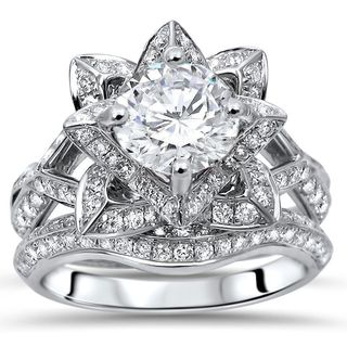 Noori 14k White Gold 2ct TGW Round Moissanite Lotus Flower and 1ct TDW Diamond Bridal Set (G-H, SI1-SI2)