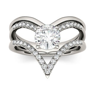 Charles & Colvard 14k White Gold 1ct DEW Forever Brilliant Moissanite Chevron Fashion Ring