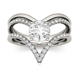 Charles & Colvard 14k White Gold 1ct DEW Forever Brilliant Moissanite Chevron Fashion Ring