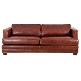Millbury Genuine Top Grain Leather Nailhead Trimmed Sofa
