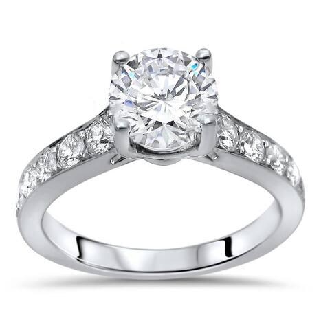 14k White Gold 1 1/2ct TGW Round Moissanite Diamond Engagement Ring 14k White Gold