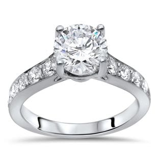 Noori 14k White Gold 1 1/2ct TGW Round Moissanite Diamond Engagement Ring 14k White Gold