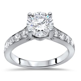 Noori 14k White Gold 1 1/2ct TGW Round Moissanite Diamond Engagement Ring 14k White Gold (More options available)