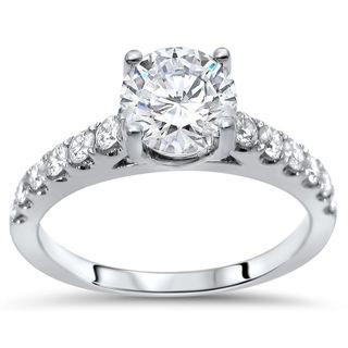 Noori 18k White Gold 1 1/3ct TGW Round Moissanite and 1/2ct TDW Diamond Engagement Ring (G-H, SI1-SI2)