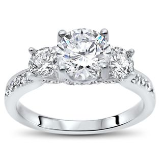 Noori 18k White Gold 1ct TGW Round Moissanite 3 Stone and 4/5ct TDW Diamond Engagement Ring (G-H, SI1-SI2) (More options available)