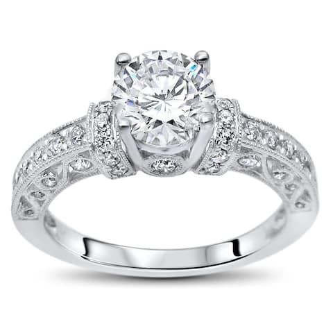 14k White Gold 1ct TGW Round Moissanite and 1/2ct TDW Diamond Engagement Ring (G-H, SI1-SI2)
