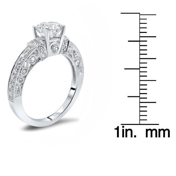 14k White Gold 1ct TGW Round Moissanite and 1/2ct TDW Diamond Engagement Ring (G-H, SI1-SI2)