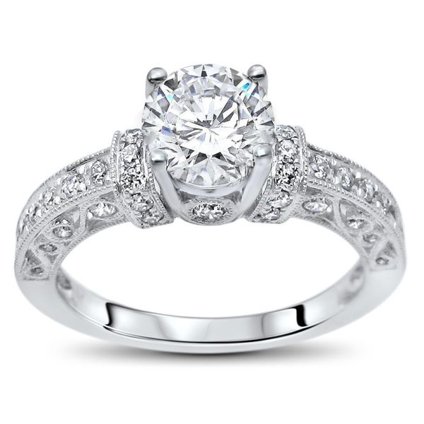 14k White Gold 1ct TGW Round Moissanite and 1/2ct TDW Diamond Engagement Ring (G-H, SI1-SI2). Opens flyout.