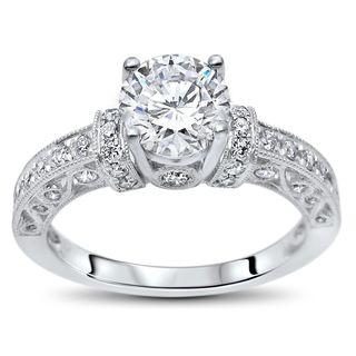 Noori 14k White Gold 1ct TGW Round Moissanite and 1/2ct TDW Diamond Engagement Ring (G-H, SI1-SI2)