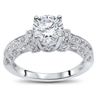 Noori 14k White Gold 1ct TGW Round Moissanite and 1/2ct TDW Diamond Engagement Ring (G-H, SI1-SI2)
