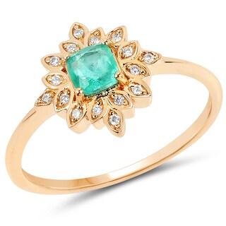 Malaika 14k Yellow Gold 2/5ct TGW Zambian Emerald and White Diamond Accent Ring