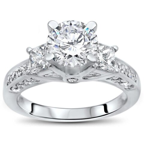 Noori 14k White Gold 1ct TGW Moissanite 3 Stone and 3/4ct TDW Diamond Engagement Ring (G-H, SI1-SI2)