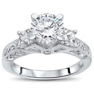 Noori 14k White Gold 1ct TGW Moissanite 3 Stone and 3/4ct TDW Diamond Engagement Ring (G-H, SI1-SI2)