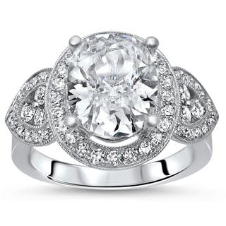 Noori 18k White Gold 2 1/2ct TGW Moissanite Oval Diamond Engagement Ring