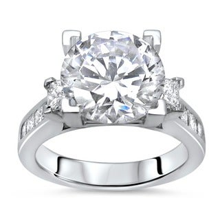 Noori 14k White Gold 3 3/4ct TGW Moissanite 3 Stone and 1 1/10ct TDW Diamond Engagement Ring (G-H, SI1-SI2)