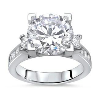 Noori 14k White Gold 2 3/4ct TGW Moissanite 3-stone and 1 1/10ct TDW Diamond Engagement Ring