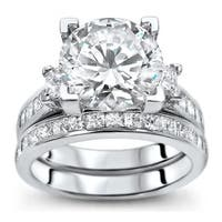 Noori 14k White Gold 2 3/4ct TGW Moissanite 3-stone and 1 3/4ct TDW Diamond Bridal Set