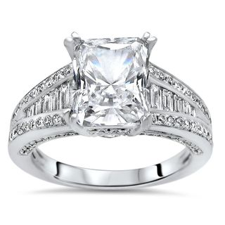 Noori 18k White Gold Moissanite and 3/4ct TDW White Diamond Engagement Ring (G-H, SI1-SI2)