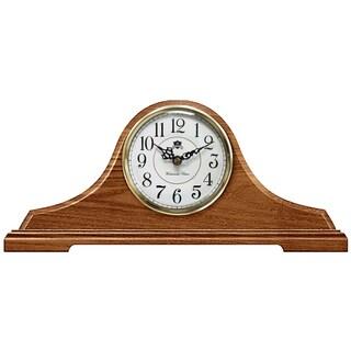 Infinity Instruments Oak Tambour Solid Wood Tabletop Clock
