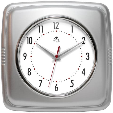 Infinity Instruments Retro 9.25-inch Square Wall Clock