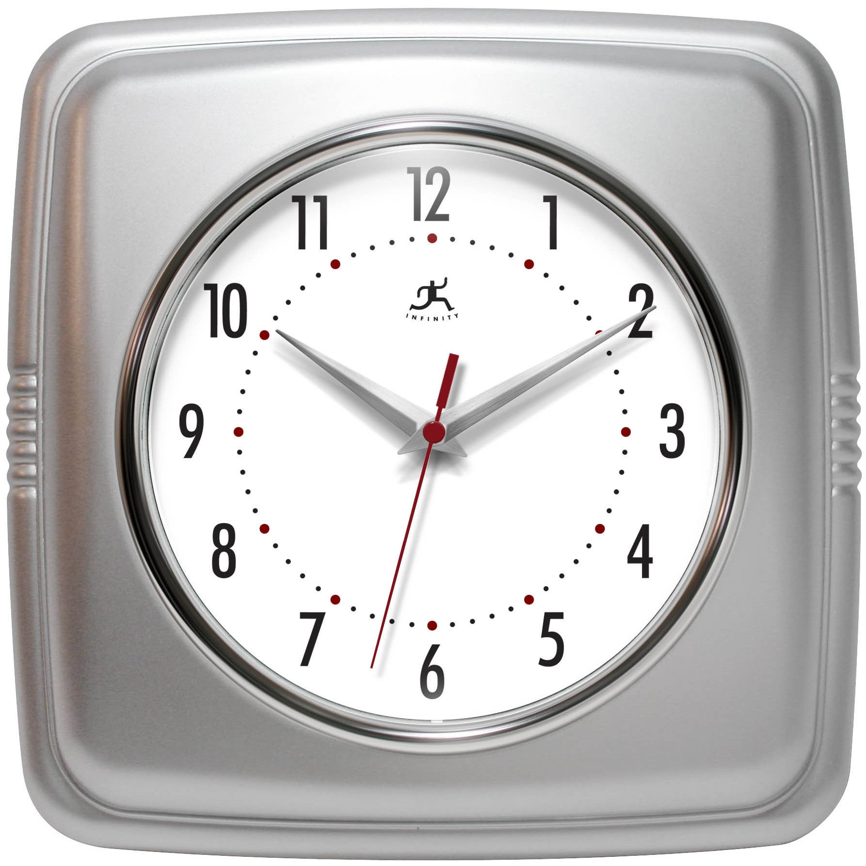 Infinity Instruments Retro 9.25-inch Square Wall Clock (R...