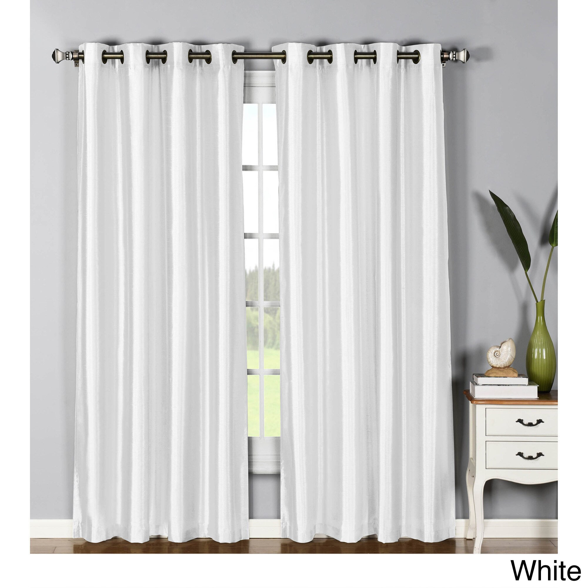Window Elements Jane Faux-silk 84-inch Grommet Curtain Pa...