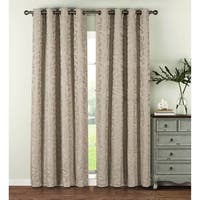 Window Elements Alpine Textured Woven Leaf Jacquard Grommet 96-in. Curtain Panel Pair