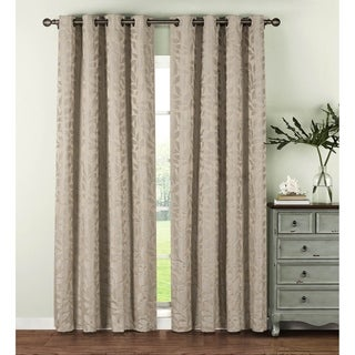 Window Elements Alpine Textured Woven Leaf Jacquard Grommet 96-in. Curtain Panel Pair (3 options available)