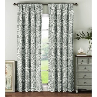 Window Elements Biltmore Grey Cotton 96-inch Rod Pocket Curtain Panel (Set of 2)